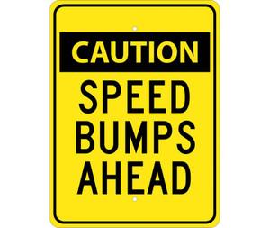 "Caution Speed Bumps Ahead Sign Heavy Duty High Intensity Reflective Aluminum, 24"" X 18"""