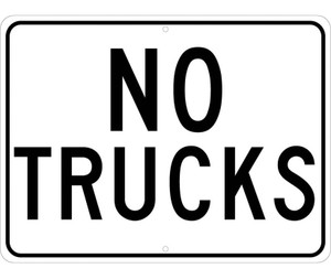 """No Trucks Sign Heavy Duty Reflective Aluminum, 18"""" X 24"""""""