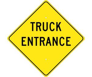 "Truck Entrance Traffic Sign Heavy Duty High Intensity Reflective Aluminum, 24"" X 24"""