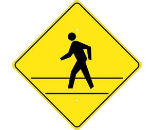 "Pedestrian Crossing Sign Heavy Duty, Reflective Aluminum, 24"" X 24"""