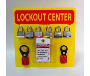Lockout Center Yellow Backboard With Hooks And Supplies