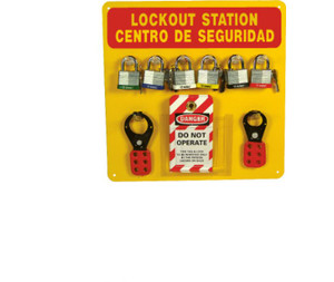 Lockout Center Bilingual, Red/Yellow, Backboard With Hooks And Supplies