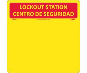 Lockout Backboard , Bilingual, Red/Yellow, Backboard With Hooks