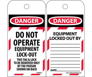 Danger Do Not Operate Equipment Tag Lock-out