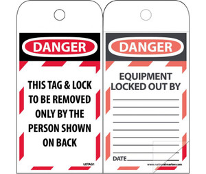 Danger This Tag & Lock To Be Removed Only By The Person Shown On Back Tag Polytag