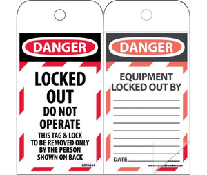 """Danger Locked Out Do Not Operate Tag Polytag, 6"""" X 3"""""""
