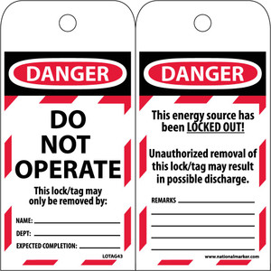 Danger Do Not Operate Tag Lockout