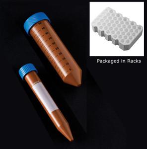 Centrifuge Tubes, 15mL (1/2 oz), Sterile, Amber, Racked, 50 x 10, case/500