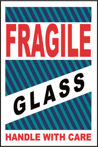 """Fragile Glass Handle With Care Label Pressure Sensitive Paper, 4"""" X 6"""""""