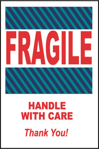 """Fragile Handle With Care Thank You Label Pressure Sensitive Paper, 6"""" X 4"""""""