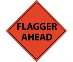 "Reflective Roll-up Flagger Ahead Sign Nylon, 48"" X 48"""