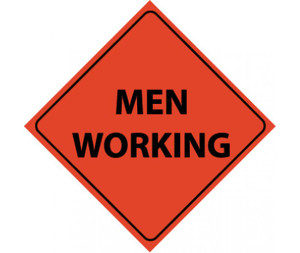 "Reflective Roll-up Men Working Sign Nylon, 48"" X 48"""