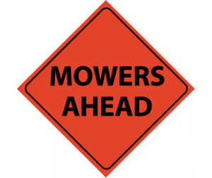 "Reflective Roll-up Mowers Ahead Sign Nylon, 48"" X 48"""