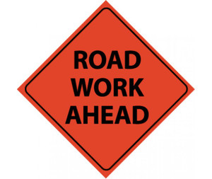 "Reflective Roll-up Road Work Ahead Sign Nylon, 48"" X 48"""
