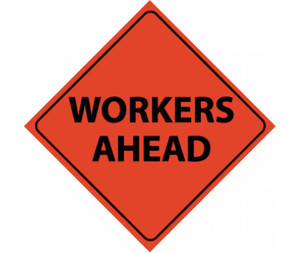 "Reflective Roll-up Workers Ahead Sign Nylon, 48"" X 48"""
