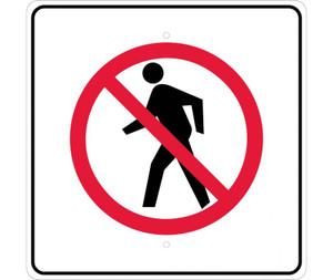 "No Pedestrian Sign Heavy Duty Reflective Aluminum, 24"" X 24"""