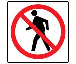 "No Pedestrian Sign Heavy Duty High Intensity Reflective Aluminum, 24"" X 24"""