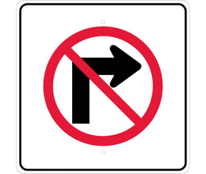 "No Right Turn Graphic Traffic Sign Heavy Duty Reflective Aluminum, 24"" X 24"""