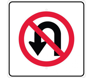 "No U Turn Graphic Traffic Sign Heavy Duty Reflective Aluminum, 24"" X 24"""