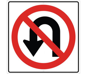 "No U Turn Graphic Traffic Sign Heavy Duty High Intensity Reflective Aluminum, 24"" X 24"""