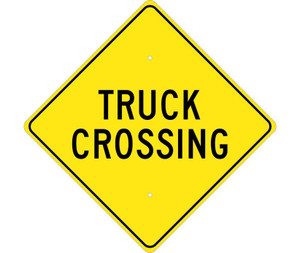 "Truck Crossing Sign Heavy Duty High Intensity Reflective Aluminum, 24"" X 24"""