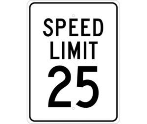 "Speed Limit 25 Sign Heavy Duty Reflective Aluminum, 24"" X 18"""