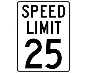 "Speed Limit 25 Sign Heavy Duty High Intensity Reflective Aluminum, 24"" x 18"""