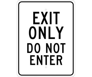 "Exit Only Do Not Enter Sign Heavy Duty Reflective Aluminum, 24"" X 18"""