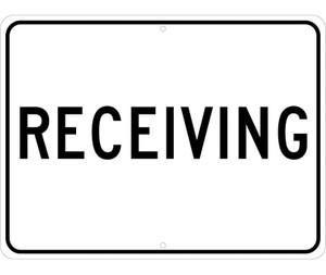 "Receiving Sign Heavy Duty Reflective Aluminum, 18"" X 24"""