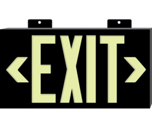 Metal Framed Black Exit Sign Plastic