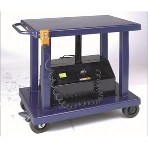 "Wesco 261106 24"" x 36"" Powered Lift Table 6"" Casters, 6000 lb Capacity, 59"" Lift Height"