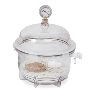 Clear Polycarbonate Round Vacuum Desiccator, 10 Liter