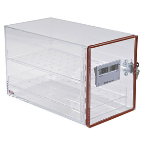 """Large Desiccator Cabinet with Lock and Hygrometer, 17 x 9.4 x 11"""""""