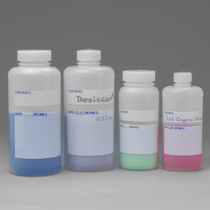 500mL Lab Bottle, Wide Mouth with White Write-On Labels, case/12
