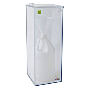 """Beta Box for Radioactive Wet Waste, with Funnel, Fully Enclosed, 6.5"""" x 6.5"""" x 18"""""""