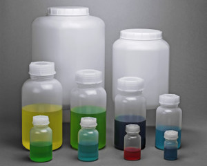 Lab Bottles, Wide Mouth LDPE, Rounds, 1000mL, case/6