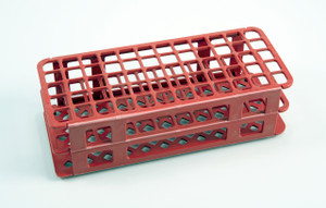 90-Place Test Tube Rack, Red, 13mm, pack/5