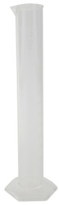 Graduated Cylinder, Molded-In Graduations, 250mL, PMP, case/8