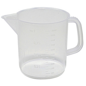 Low Form Beakers with Spout and Handle, Autoclavable PP, 500mL, case/24