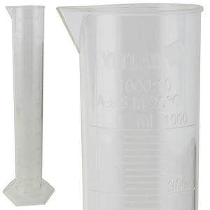 Graduated Cylinder, Certified, PMP, 1000mL, case/4