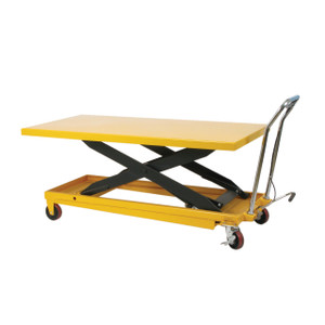 1100 lb Capacity Long Deck Scissors Table with Hydraulic foot pump and Manually operated