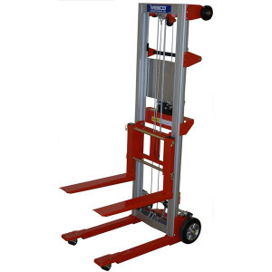 """Hand Winch Lifter, Fixed Base with crank handle locks to secure carriage 24""""W x 68""""H x 35""""D"""
