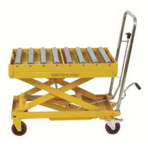 660 Lb Capacity Scissors Table With Roller Top With Hydraulic Foot Pump