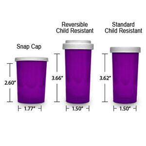 Purple Pharmacy Vials, Child Resistant, Reversible, 30 dram, case/195 (minimum order req)