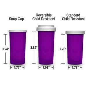 Purple Pharmacy Vials, Child Resistant, Reversible, 40 dram, case/130 (minimum order req)