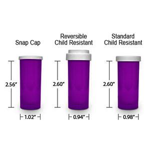 Purple Pharmacy Vials, Child Resistant, Reversible, 8 dram, case/410 (minimum order req)