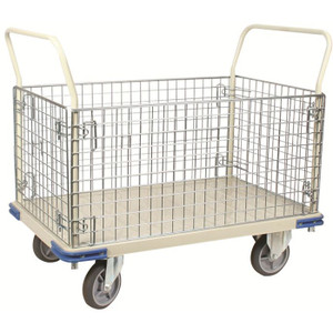 "Wire Removable Caged Steel Platform Truck, 30""W x 40""H x 48""D"