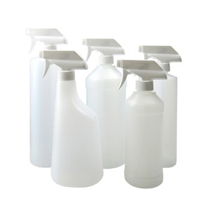 32 oz Natural Nylon/PE Modern Rounds with 28-400 White PP Industrial Trigger Sprayer attached, case/6