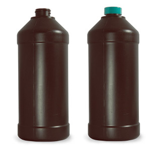 32 oz Amber Modern Round Bottles, Nylon/PE, 28-400 Green F217 PTFE Lined Caps, case/68