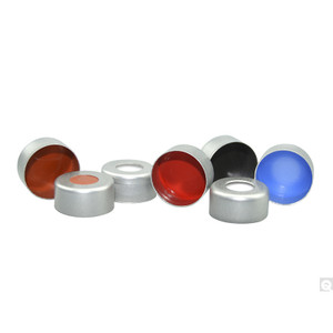 11mm Silver Aluminum Seal, Clear PTFE/Red Rubber Septa, case/1000